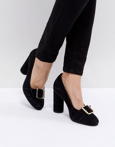 Read more about Selected suede round toe court shoe with buckle - black