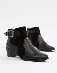 Read more about Miss selfridge exclusive western ankle boot in black - black