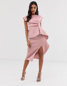 Read more about Asos design peplum pencil midi dress with tuck detail