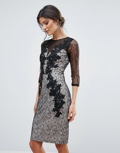 Read more about Little mistress lace applique bodycon dress - black