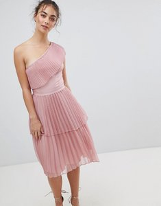Read more about Glamorous one shoulder pleated dress - dusty pink