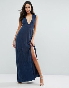 Read more about Missguided pleated plunge maxi dress - navy