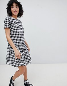 Read more about Daisy street gingham dress with pep hem - black