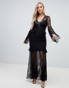 Read more about Forever new lace sleeve maxi dress in black