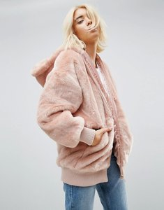 Read more about Asos oversized hooded jacket in faux fur - nude