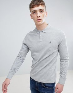 Read more about Original penguin winston pique polo long sleeve slim fit in grey marl - rain heather