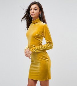 Read more about Glamorous tall bodycon dress with high neck in velvet - yellow