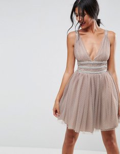 Read more about Asos tulle strappy embellished mini skater dress - mink