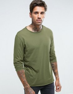 Read more about Another influence basic raw edge long sleeve top - green