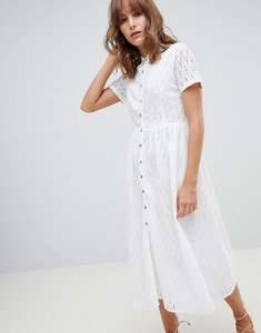 Read more about Mango broderie midi dress in white - white