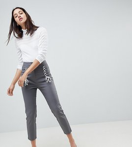 Read more about Asos design cigarette trousers with lace up front - grey