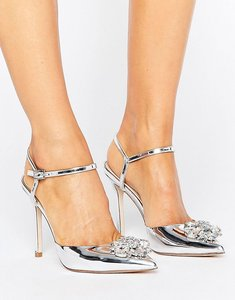 Read more about Asos peppermint embellished pointed high heels - silver