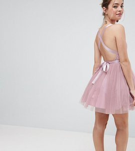 e48c57a6a5b Read more about Asos petite premium tulle mini prom dress with ribbon ties  - rose pink