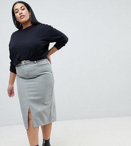 Read more about Asos design curve denim midi skirt in khaki - khaki