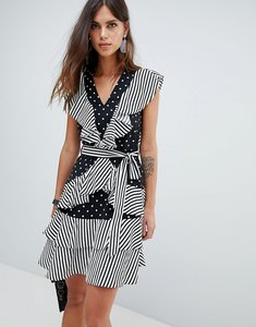Read more about Y a s dot and stripe ruffle dress - multi