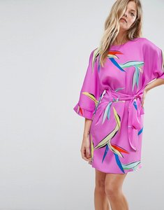 Read more about Asos belted dress in bright abstract floral - multi