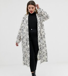 Read more about Asos design curve duster coat in snake