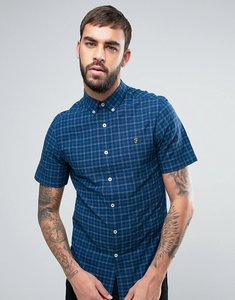 Read more about Farah cosford short sleeve shirt check slim fit yarn dyed in blue - regatta blue