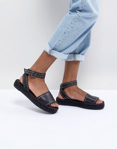 Read more about Alohas rome black leather studded espadrille - black
