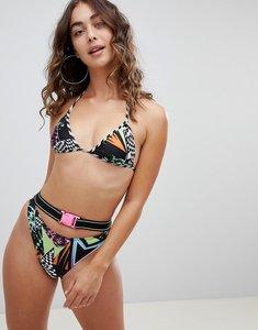 Read more about Jaded multi print bikini bottom with belt detail - multi