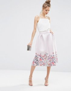 Read more about Asos scuba prom skirt with floral border print - multi