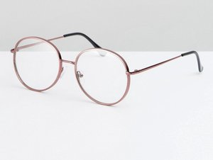 Read more about Asos geeky metal round clear lens glasses in pink - pink