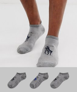 Read more about Polo ralph lauren 3 pack trainer socks with stripe and polo player in grey