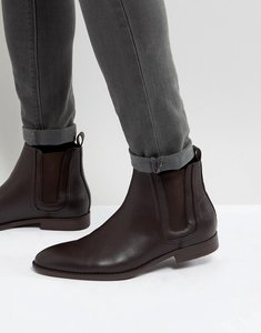 Read more about Asos chelsea boots in brown faux leather with panel detail - brown