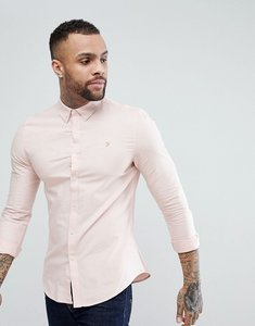 Read more about Farah brewer slim fit oxford shirt in pink - pink