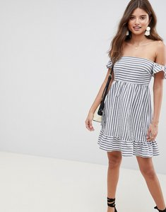 Read more about Asos design off the shoulder mini sundress with pep hem in stripe - multi