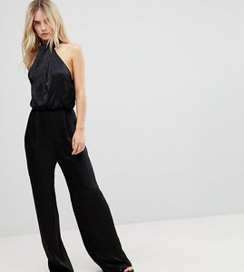 1d2cf4fc00 Read more about Asos petite satin fold neck jumpsuit with keyhole and wide  leg - black
