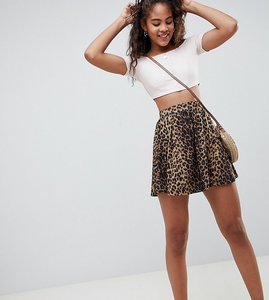 Read more about Asos design tall mini skater skirt in leopard print - multi