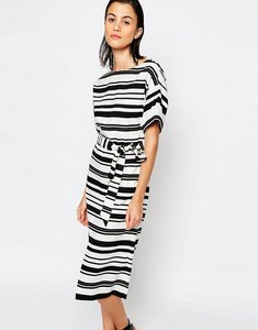Read more about Warehouse textured stripe dress - black white
