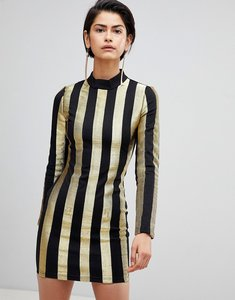 Read more about Forever unique stripe high neck dress - black