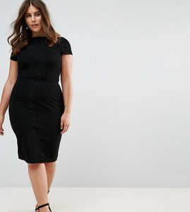 Read more about Closet london plus structured plisse pencil dress - black
