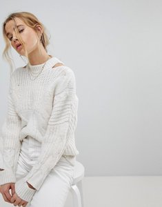 Read more about Miss selfridge mixed yarn chunky jumper - cream