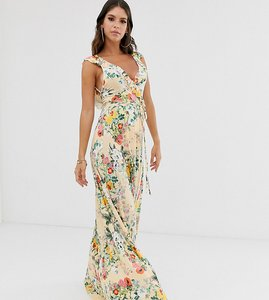 Read more about Asos design tall ruffle wrap maxi dress with tie detail in floral print