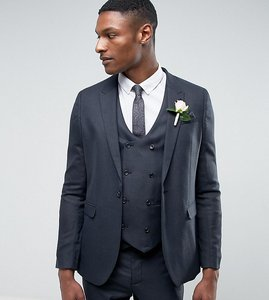 Read more about Asos tall wedding skinny suit jacket in blue micro woven texture - navy