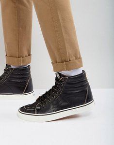Read more about Vans sk8-hi premium leather trainers in black va38geoe6 - black