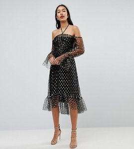 Read more about John zack tall long sleeve cold shoulder metallic star print midi dress - black gold multi