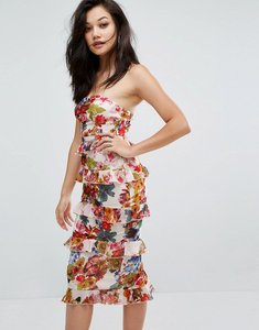 Read more about Prettylittlething floral tiered ruffle midi dress - multi