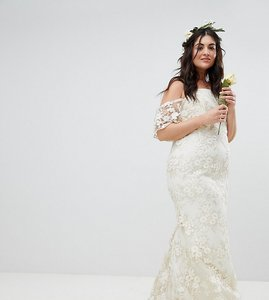 Read more about Asos edition curve floral lace bandeau maxi wedding dress - white