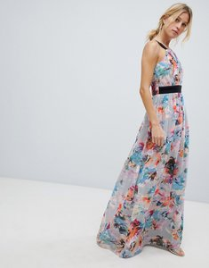 Read more about Little mistress high neck maxi dress in full bloom print - multi