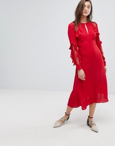 Read more about Warehouse ruffle lace midi dress - red