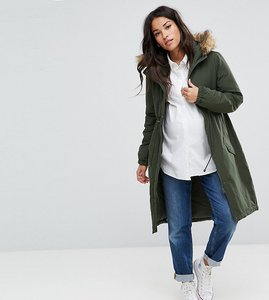 Read more about Mamalicious parka coat with faux fur trim hood - climbing ivy