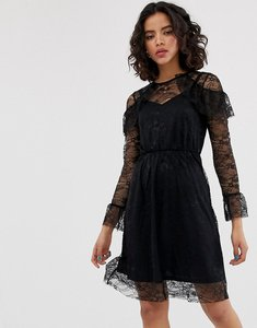 Read more about Warehouse all over lace skater midi dress - black