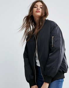 Read more about Asos oversized bomber jacket - black