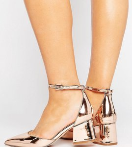 Read more about Asos starling wide fit pointed heels - nude metallic