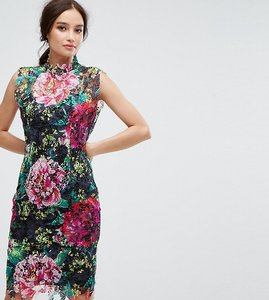 Read more about Paper dolls high neck floral crochet lace pencil dress - black multi