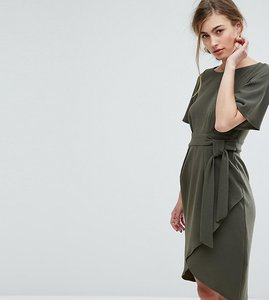 Read more about Closet london tie front dress with kimono sleeve - khaki